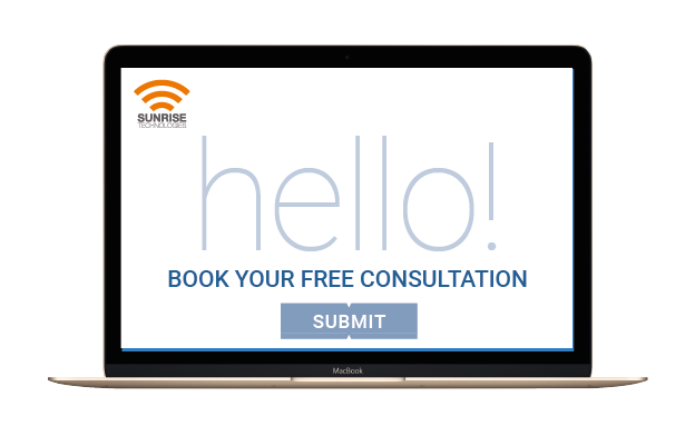 Photo of a laptop with the wording 'Hello! Book your free consultation'
